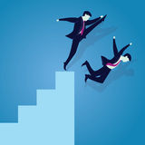 Bad Business Competition Concept. Vector illustration. Bad business competition concept. A businessman kicking to make his rival falling down from the top ladder Stock Photos