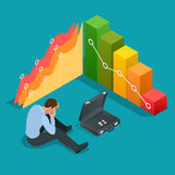Bad businessman. Not successful businessman. Depressed Businessman Leaning His Head Below a Bad Stock Market Chart.. Flat 3d vector isometric illustration Royalty Free Stock Image