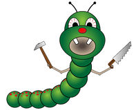 Bad cartoon worm. Vector illustration of the funny cartoon worm with saw and hammer in hands Stock Image