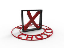 Bad choice red black square 3d white background Royalty Free Stock Photo