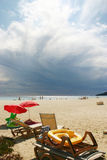 Bad clouds over saint tropez beach. Black clouds at horizon over a beach Stock Photography