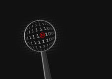 Bad code. Searching black background Royalty Free Stock Photography