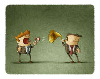 Bad communication business. Businessman talks to another by a small megaphone, the other businessman hears him with an ear trumpet Royalty Free Stock Photo