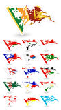 Bad condition flags of Asia 3 Stock Images