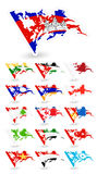 Bad condition flags of Asia 2 Stock Photo