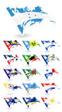 Bad condition flags of North America Set 2 Royalty Free Stock Photo