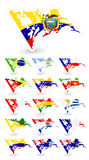 Bad condition flags of South America Royalty Free Stock Photos