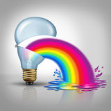 Bad Creative. And terrible Ideas as awful thinking concept as an open light bulb vomiting or throwing up a rainbow as a metaphor and symbol for horrible royalty free illustration