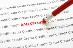 Bad Credit. Pencil eraser fixing bad credit Stock Photography
