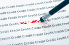 Bad credit. Pencil eraser fixing bad credit royalty free stock image