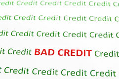 Bad Credit. Closeup of Bad Credit text in red, Credit in green royalty free stock photo