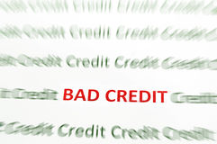 Bad Credit. Closeup of Bad Credit text in red, Credit in green Royalty Free Stock Photos