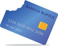 Bad credit. Concept illustration. Credit card with bite marks on one corner symbolizing bad credit Stock Photography