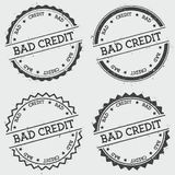 Bad Credit insignia stamp  on white. Bad Credit insignia stamp  on white background. Grunge round hipster seal with text, ink texture and splatter and blots Stock Photos