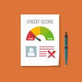 Bad credit score document with not approved stamp vector concept. Paper sheet poor chart of personal credit score information, data report form, declined Royalty Free Stock Images