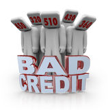 Bad Credit Scores - People with Number Heads. Several people with bad credit scores on their heads behind the words Bad Credit