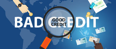 Bad credit vs good credit score loan financial selection concept of money management Royalty Free Stock Photos