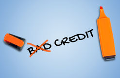 Bad credit word. On blue background stock image