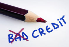 Bad credit word. On grey background stock photo