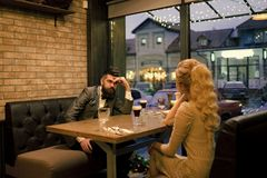 Bad date of couple, break up relations and love. Business meeting of man and woman. Valentines day with woman and man stock photo