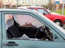 Bad day. For owner car - vandal or thief or accident - destroyed window-pane stock photo