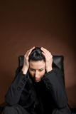 Bad Day. Female studio shot with facial expression Royalty Free Stock Photography
