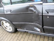 Bad day. For owner car - accident - destroyed side (door) car royalty free stock photography