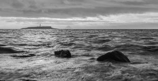 Bad day. Black and white picture from a small island on a stormy day stock photos