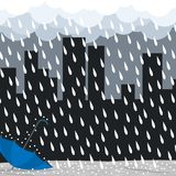 Bad day heavy rain umbrella vector. N Stock Photos