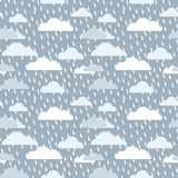 Bad day heavy rain umbrella vectordark blue cloud rain drop seamless vector Stock Photo