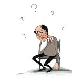 Bad day. Office worker in a funny cartoon style. Stress,problems,questions Royalty Free Stock Photos