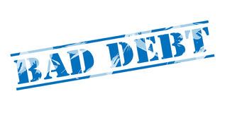 Bad debt blue stamp. Isolated on white background Royalty Free Stock Photography