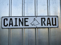 Bad dog - Caine rau. A sign with the Romanian text for Bad dog Royalty Free Stock Photo