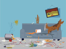 Bad dog. Interior of a very messy room, turned upside down by an energetic happy dog, sitting on a torn dirty couch, vector illustration, no transparencies, EPS Royalty Free Stock Photos