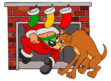 Bad Dog & Santa Claus Christmas Stock Image