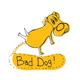 Bad doggy image. Hand drawn funny peeing dog. Unique vector illustration in modern style. Beautiful image in black and yellow colours isolated on white Stock Images