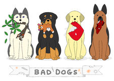 Bad dogs. With guilty evidence in their mouths stock illustration