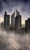 Bad dream in Dubai. Buildings in fog at Dubai Royalty Free Stock Photos