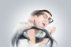 Bad driver tangled in car wreckage Stock Images