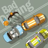 Bad driving. The driver, who was driving behind, had no time to brake Stock Images