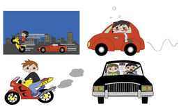 Bad driving habit illustration Stock Images