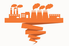 Bad ecology. Building of factories located on the ribbon spoiling ecology Stock Photo