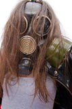 Bad ecology concept. The girl in a gas mask. Bad ecology concept Royalty Free Stock Image
