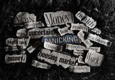 Negative news headline. Bad economic related news headlines on dark background Royalty Free Stock Image