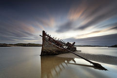Bad Eddie. Shipwreck located at Bunbeg beach, Co. Donegal, Ireland Stock Images