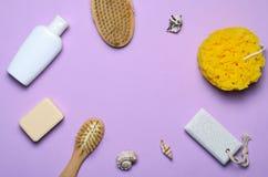 Bad-Einzelteil-Konzept-, Schwamm-, Shampoo-oder Duschgel, Haar-Bürste, Bimsstein, Draufsicht stockbild