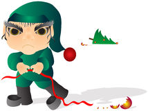 Bad Elf. Mean little elf. He knocked down the Christmas tree and broke the balls Royalty Free Stock Image