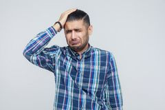 Bad emotions and feelings concept. Headache. Businessman touchin Stock Photo