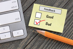 Bad experience feedback Royalty Free Stock Photos