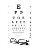 Bad Eyesight. Concept photo. Glasses with eye test chart in the background Royalty Free Stock Photos